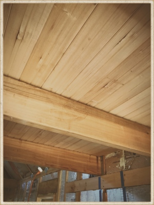 cedar beams and hemlock tongue and grove ceiling